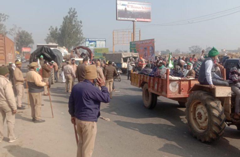 UP News : घेराबंदी को तोड़कर मेरठ से दिल्ली के लिए गए सैकड़ों किसान
