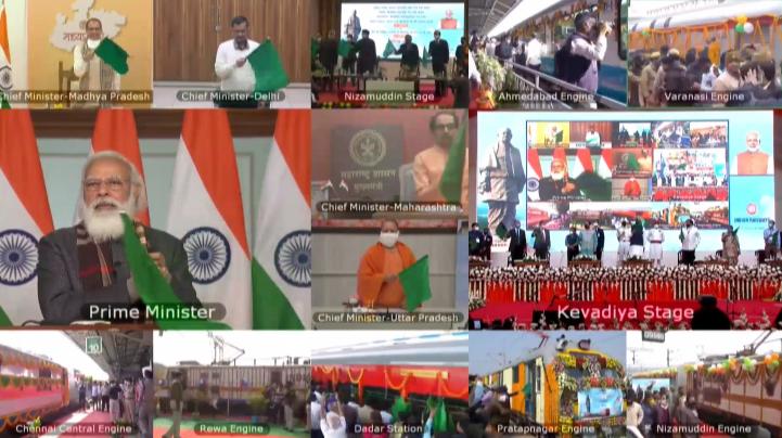 प्रधानमंत्री ने देश को केवड़िया से जोड़ने वाली 8 ट्रेनों को दिखाई हरी झंडी