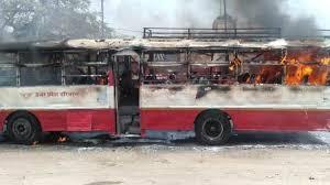 प्रयागराज से कानपुर आ रही रोडवेज बस में आग, बाल-बाल बचे यात्री